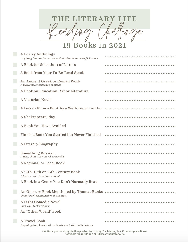 192021 Reading Challenge printable PDF