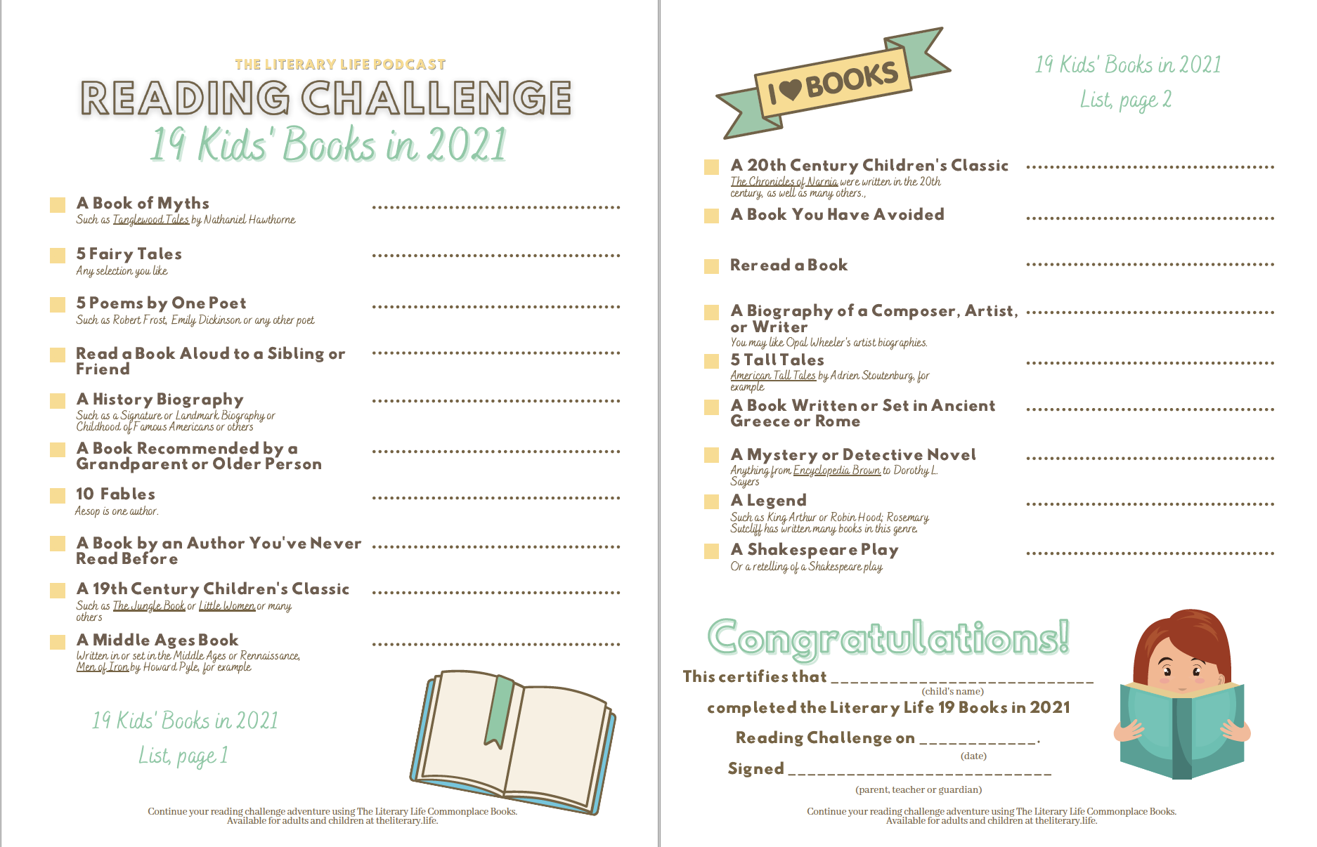Kids' 192021 Reading Challenge printable PDF
